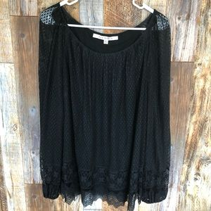 MAX STUDIO Black Lace Blouse. Large.